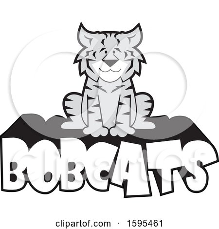 Clipart of a Cartoon Grayscale Bobcat School Sports Mascot Sitting on Text - Royalty Free Vector Illustration by Johnny Sajem