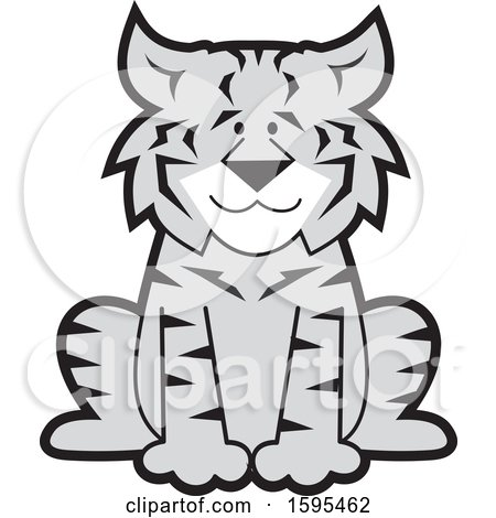 Clipart of a Cartoon Grayscale Bobcat School Sports Mascot - Royalty Free Vector Illustration by Johnny Sajem