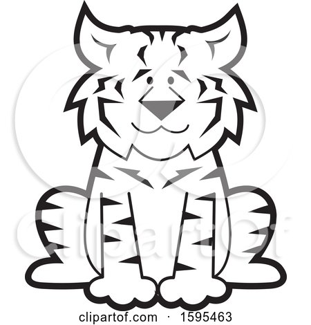 Clipart of a Cartoon Black and White Bobcat School Sports Mascot - Royalty Free Vector Illustration by Johnny Sajem