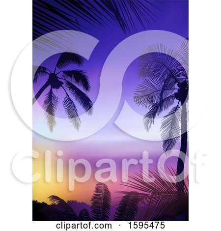 Clipart of a Tropical Sunset and Palm Tree Travel Background - Royalty Free Vector Illustration by dero
