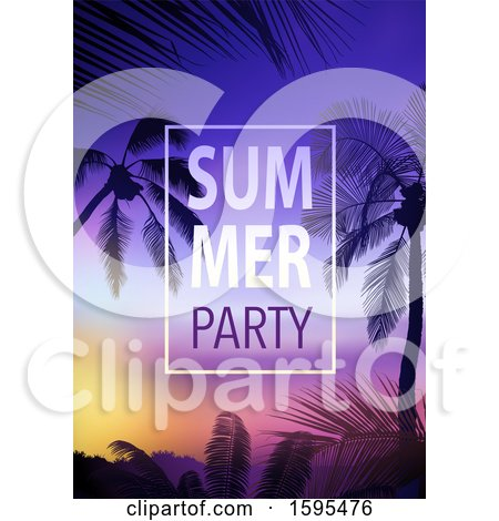 Clipart of a Tropical Sunset and Palm Tree Background with Summer Party Text - Royalty Free Vector Illustration by dero