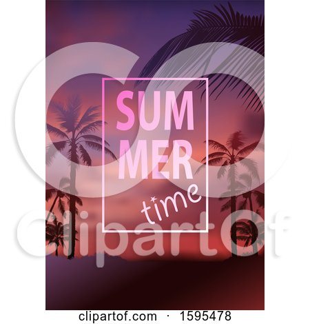Clipart of a Tropical Sunset and Palm Tree Background with Summer Time Text - Royalty Free Vector Illustration by dero