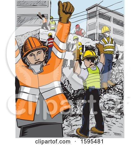 Clipart of a Scene of Rescue Workers After Aan Earthquake in Mexico - Royalty Free Vector Illustration by David Rey