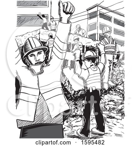 Clipart of a Grayscale Scene of Rescue Workers After Aan Earthquake in Mexico - Royalty Free Vector Illustration by David Rey
