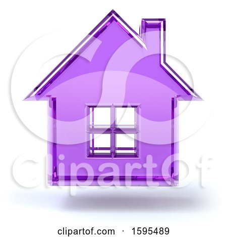 Clipart of a 3d Purple Glass House Floating, on a White Background - Royalty Free Illustration by Julos