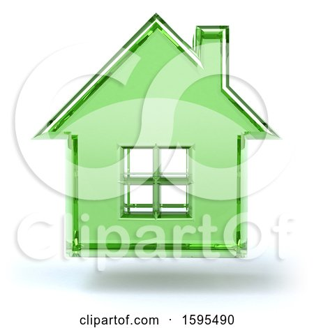 Clipart of a 3d Green Glass House Floating, on a White Background - Royalty Free Illustration by Julos