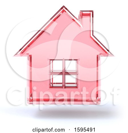 Clipart of a 3d Pink Glass House Floating, on a White Background - Royalty Free Illustration by Julos