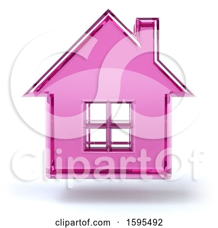 Clipart of a 3d Fuchsia Glass House Floating, on a White Background - Royalty Free Illustration by Julos