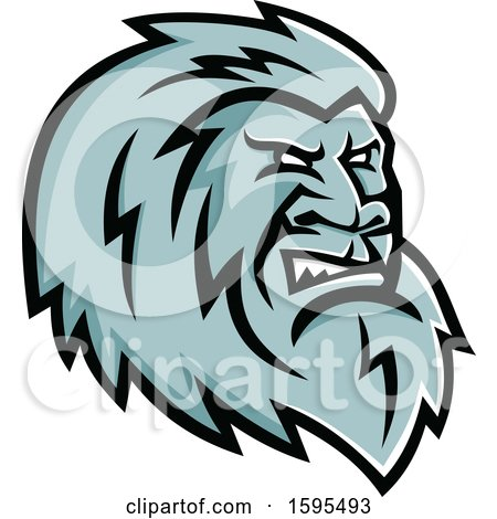 Clipart of a Tough Yeti Mascot Head - Royalty Free Vector Illustration by patrimonio