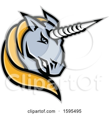 Clipart of a Tough Gray and Yellow Unicorn Mascot Head - Royalty Free Vector Illustration by patrimonio