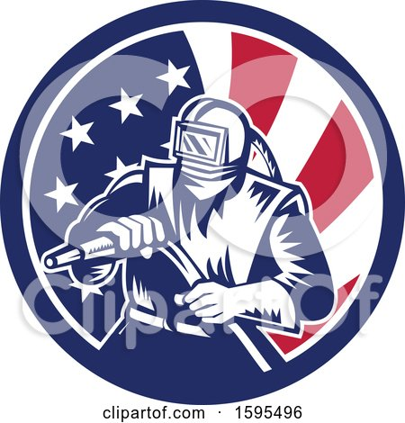 Clipart of a Retro Woodcut Sandblaster Worker in an American Flag Circle - Royalty Free Vector Illustration by patrimonio