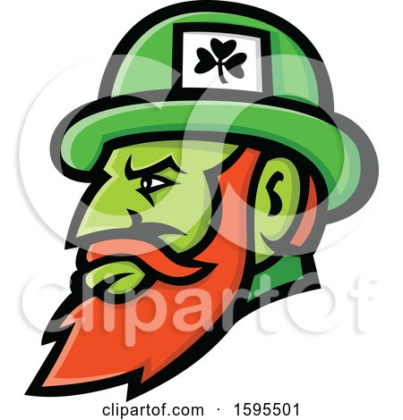 Clipart of a Leprechaun Mascot Head Wearing a Hat - Royalty Free Vector Illustration by patrimonio