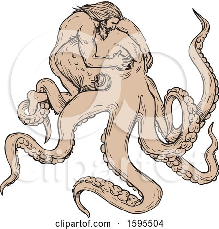 Clipart of a Sketched Man, Hercules, Fighting a Giant Octopus - Royalty Free Vector Illustration by patrimonio