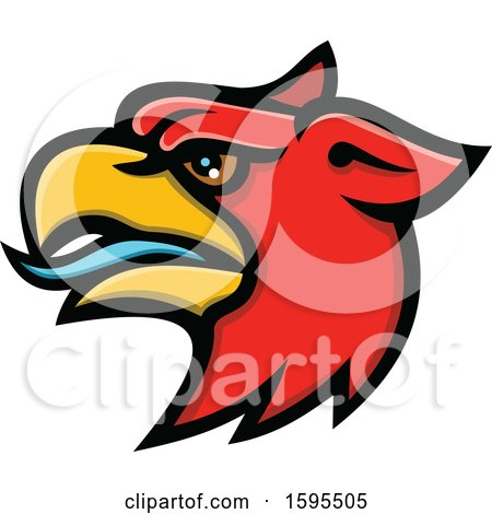 Clipart of a Tough Red Griffin Mascot Head - Royalty Free Vector Illustration by patrimonio