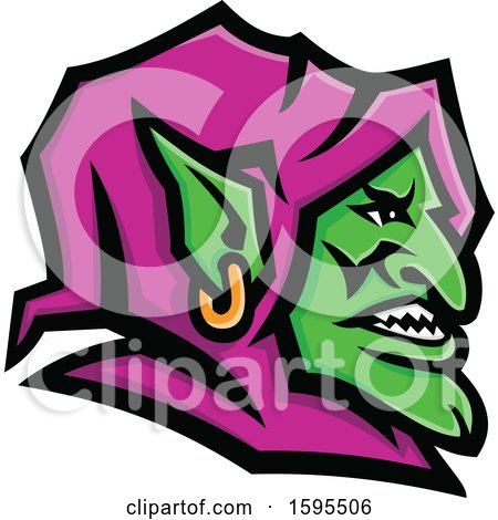 Clipart of a Green Goblin Mascot Head with a Purple Hood - Royalty Free Vector Illustration by patrimonio
