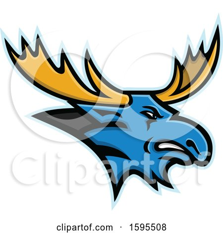 Clipart of a Tough Blue Moose Mascot Head with Yellow Antlers - Royalty Free Vector Illustration by patrimonio