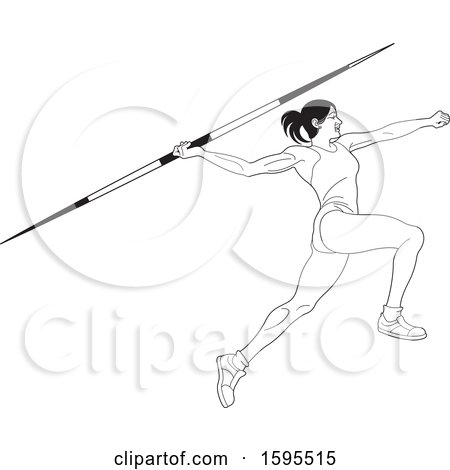 Clipart of a Black and White Female Athlete Throwing a Javelin - Royalty Free Vector Illustration by Lal Perera