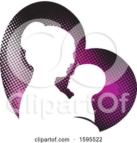 Clipart of a Silhouetted Mother Holding a Baby over a Heart - Royalty Free Vector Illustration by Lal Perera