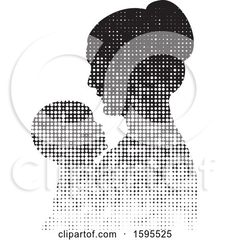 Clipart of a Silhouetted Hafltone Mother Holding a Baby - Royalty Free Vector Illustration by Lal Perera