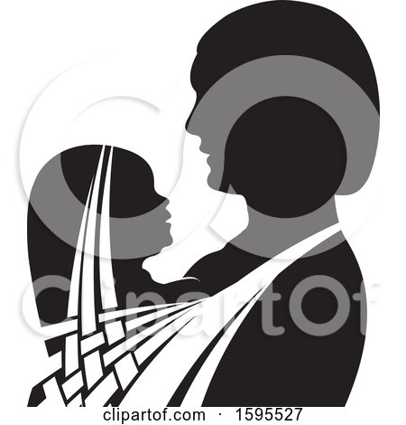 Clipart of a Black and White Silhouetted Mother Holding a Child - Royalty Free Vector Illustration by Lal Perera