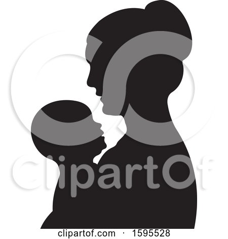 Clipart of a Black Silhouetted Mother Holding a Baby - Royalty Free Vector Illustration by Lal Perera