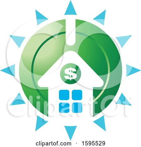 Clipart of a Shining Usd Dollar Symbol House Bank Icon - Royalty Free Vector Illustration by Lal Perera