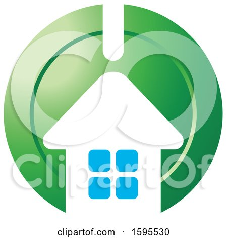 Clipart of a House Bank Icon - Royalty Free Vector Illustration by Lal Perera