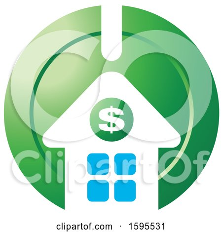 Clipart of a Usd Dollar Symbol House Bank Icon - Royalty Free Vector Illustration by Lal Perera