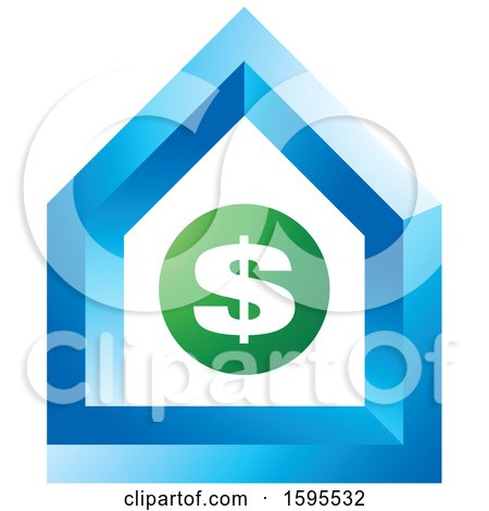 Clipart of a Usd Dollar Symbol House Icon - Royalty Free Vector Illustration by Lal Perera