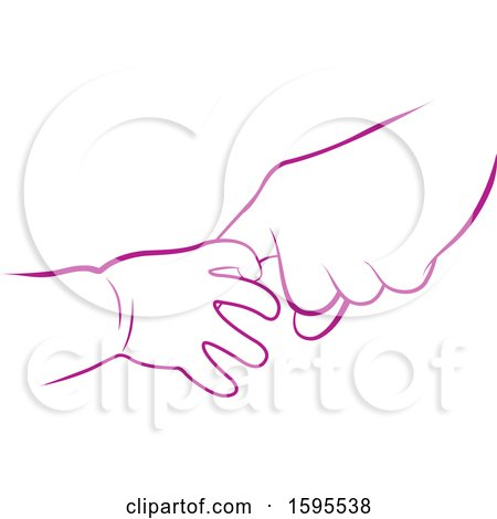 Clipart of Baby and Elder Hands - Royalty Free Vector Illustration by Lal Perera