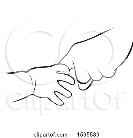 Clipart of Black and White Baby and Elder Hands - Royalty Free Vector Illustration by Lal Perera