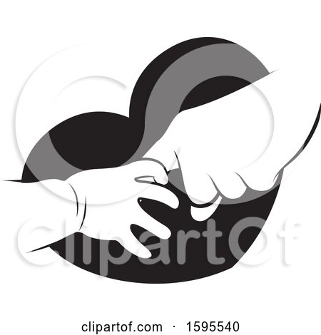 Clipart of Black and White Baby and Elder Hands over a Heart| Royalty Free Vector Illustration by Lal Perera