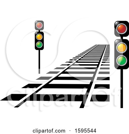 Clipart of a Train Track and Lights - Royalty Free Vector Illustration by Lal Perera