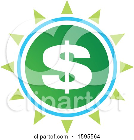 Clipart of a Usd Dollar Symbol Sun Icon - Royalty Free Vector Illustration by Lal Perera