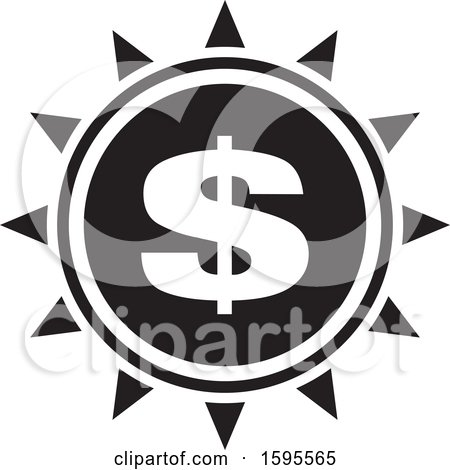 Clipart of a Black and White Usd Dollar Symbol Sun Icon - Royalty Free Vector Illustration by Lal Perera