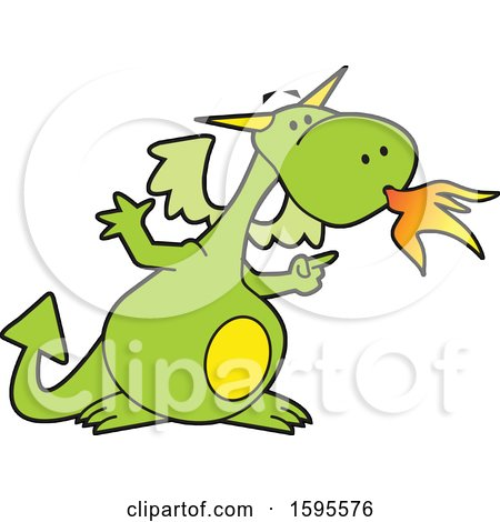 Clipart of a Fire Breathing Dragon School Mascot - Royalty Free Vector Illustration by Johnny Sajem