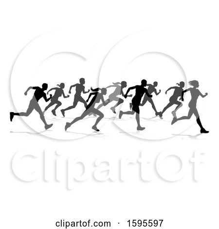 Clipart of a Silhouetted Group of Runners, with Reflections or Shadows, on a White Background - Royalty Free Vector Illustration by AtStockIllustration