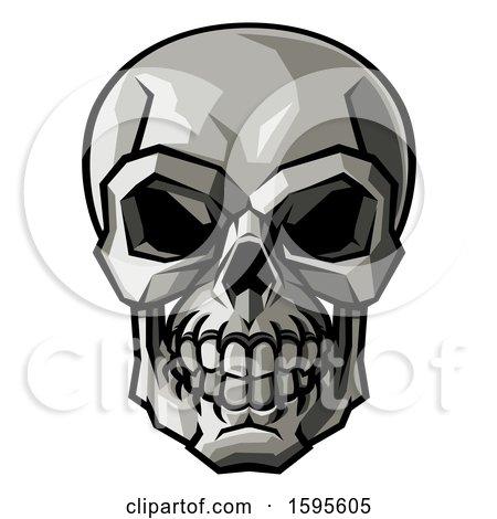 Clipart of a Stylised Human Skull - Royalty Free Vector Illustration by AtStockIllustration