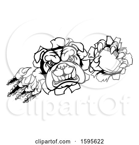 Clipart Of A Black And White Tough Bulldog Monster Sports Mascot