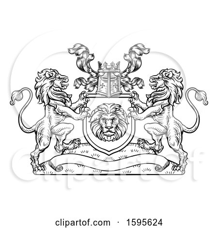 Clipart of a Black and White Heraldic Lions Coat of Arms Crest with a Knights Great Helm Helmet - Royalty Free Vector Illustration by AtStockIllustration