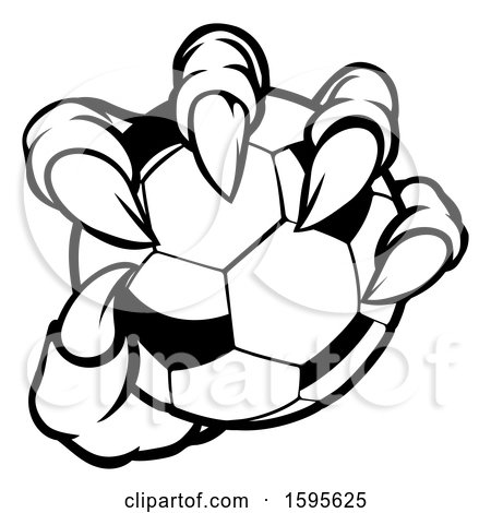 Clipart of a Black and White Monster Claw Holding a Soccer Ball - Royalty Free Vector Illustration by AtStockIllustration