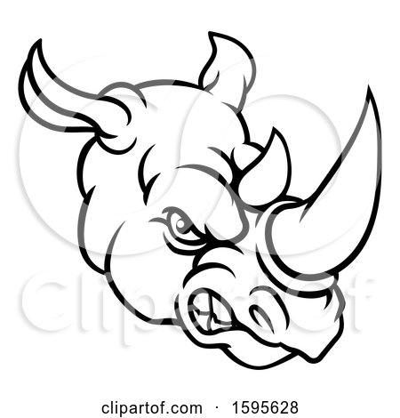 Clipart of a Black and White Tough Rhinoceros Sports Mascot Head - Royalty Free Vector Illustration by AtStockIllustration