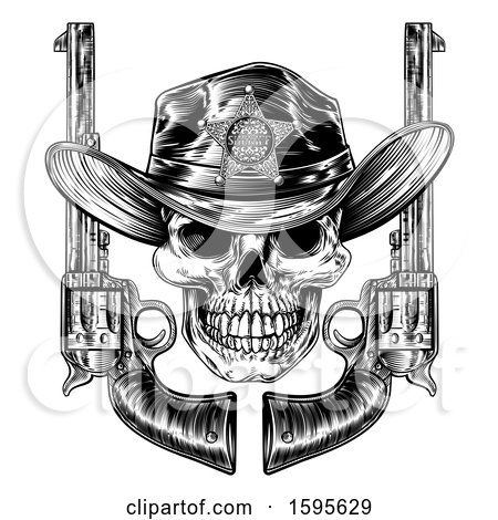 Clipart of a Cowboy Sheriff Skull with Crossed Guns in Black and White - Royalty Free Vector Illustration by AtStockIllustration