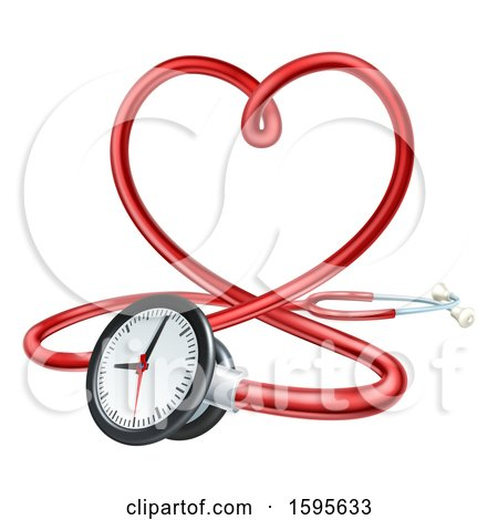Clipart of a 3d Medical Stethoscope Forming a Red Love Heart - Royalty Free Vector Illustration by AtStockIllustration