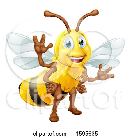 Clipart of a Happy Friendly Bee Mascot Waving - Royalty Free Vector Illustration by AtStockIllustration