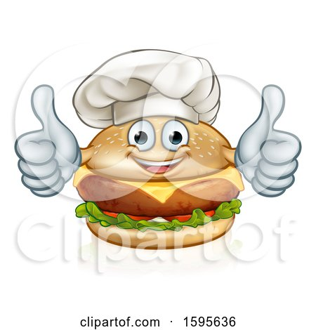 Clipart of a Happy Cheeseburger Chef Character Giving Two Thumbs up - Royalty Free Vector Illustration by AtStockIllustration