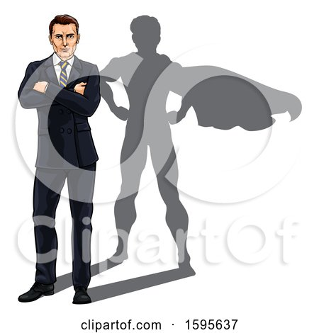 Clipart of a White Business Man Standing with Folded Arms and a Super Hero Shadow - Royalty Free Vector Illustration by AtStockIllustration
