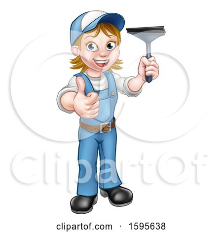 Clipart of a Full Length Happy White Female Window Cleaner in Blue, Giving a Thumb up and Holding a Squeegee - Royalty Free Vector Illustration by AtStockIllustration