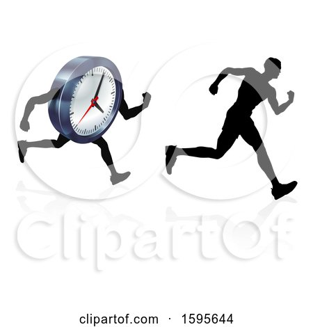 Clipart of a Silhouetted Man Racing a Clock Character - Royalty Free Vector Illustration by AtStockIllustration