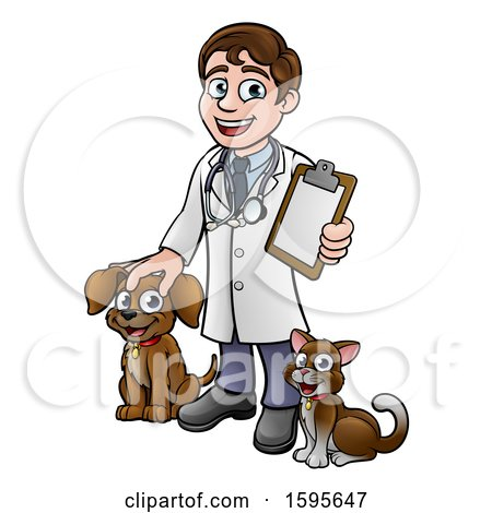 Clipart of a Cartoon Happy May Veterinarian Waving and Holding a Clipboard, with a Dog and Cat - Royalty Free Vector Illustration by AtStockIllustration